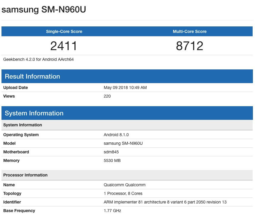 Samsung Galaxy Note 9 on Geekbench