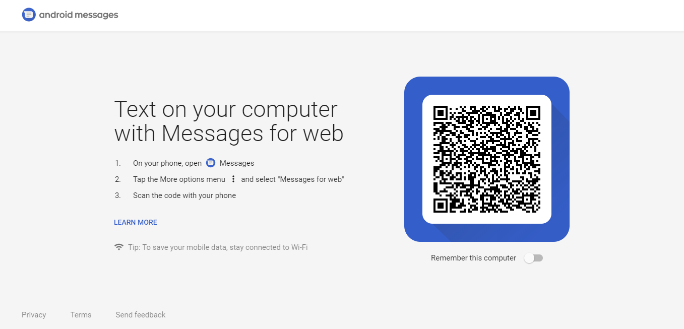 Web version of Android Messages