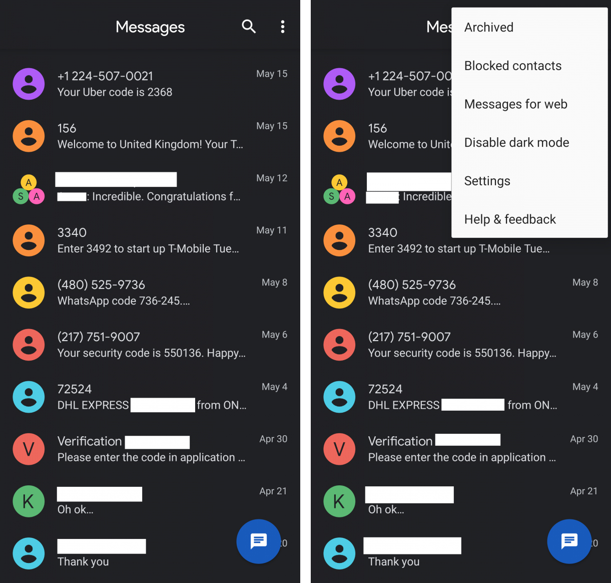 Android Messages gets Dark Mode theme, looks stunning 1