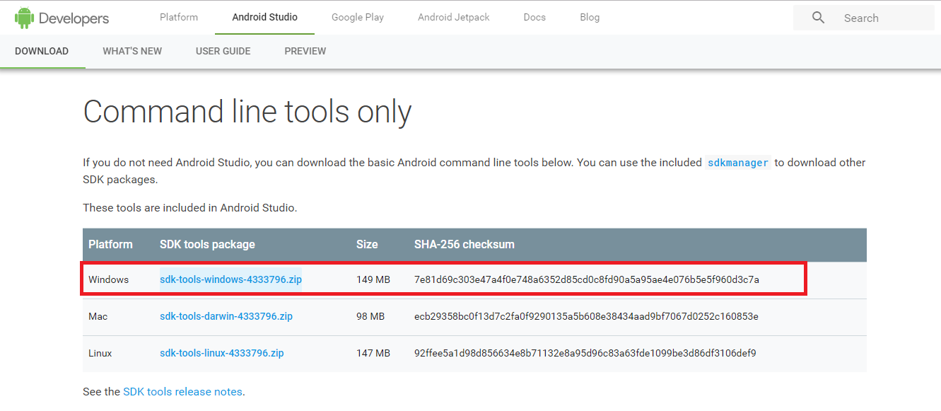 Android SDK tools for Windows