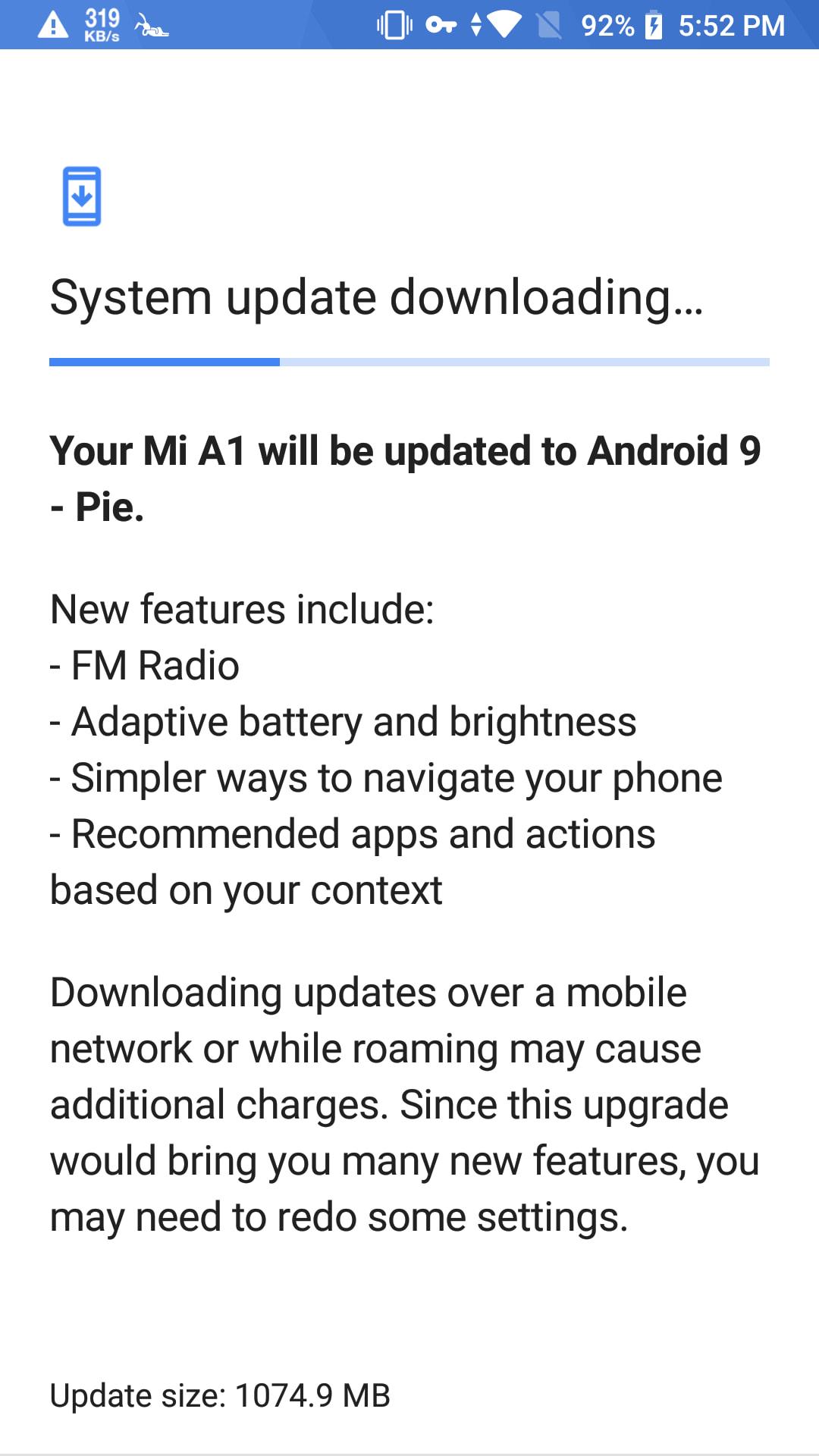 Xiaomi Mi A1 Pie Update