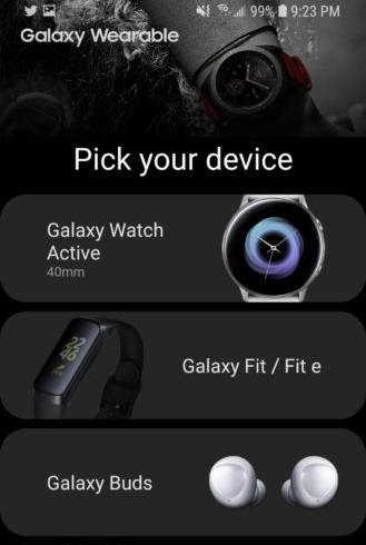 Galaxy Wearable App - Screenshot