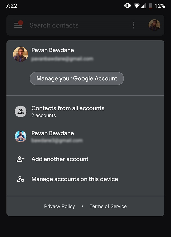 Google Contacts - Account Switcher