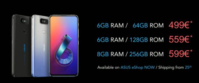 Asus Zenfone 6 pricing