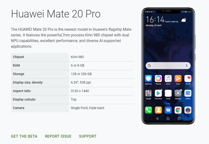 Huawei Mate 20 Pro on Android Q Beta Website