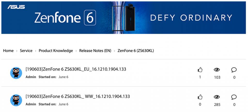 Zenfone 6 Updates