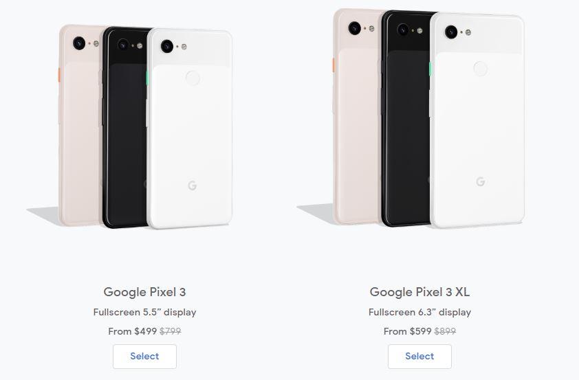 Google Pixel 3 and Pixel 3XL prices